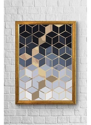 Lyn Home & Decor Gold Geo Desen Çerçeveli Poster Tablo 23.5X33,5 Sarı